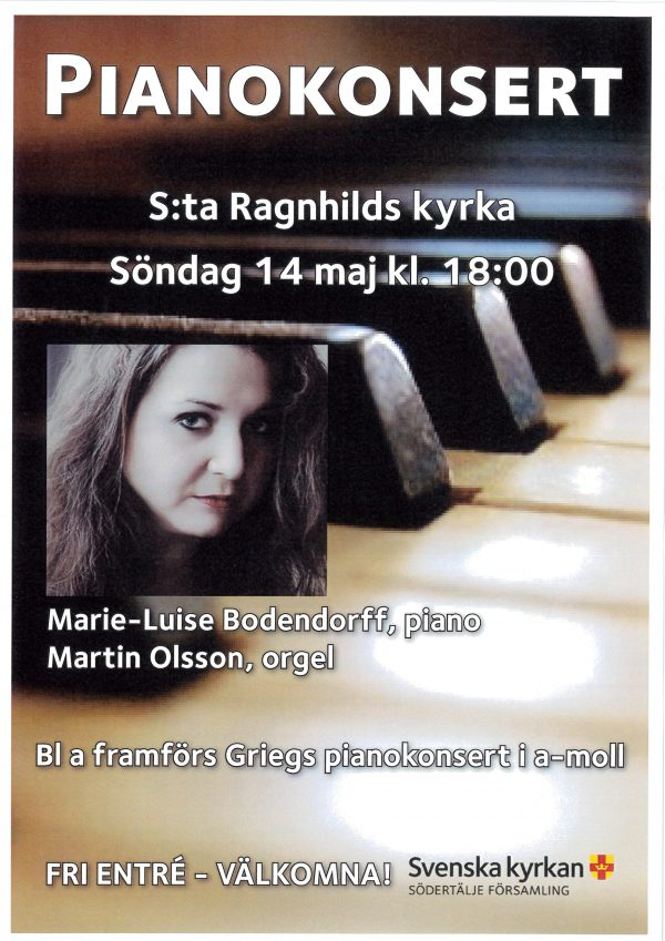 Piano and organ, St:a Ragnhilds Kyrka, Sweden the 14th of May, 6 pm