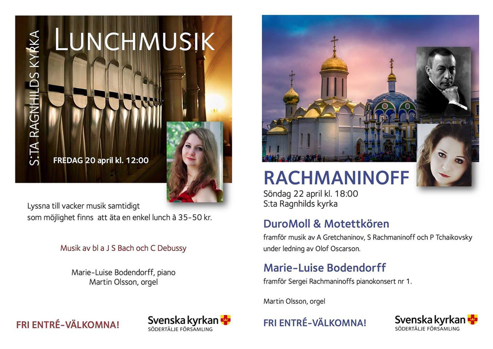 Concert at St:a Ragnhilds Kyrka, Sweden, the 20th & 22nd of April