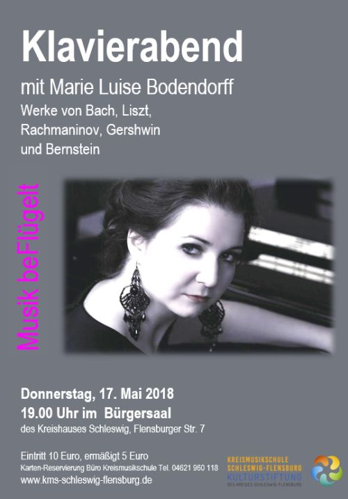 Recital at Bürgerhaus, Schleswig, Germany, the 17th of May, 7pm