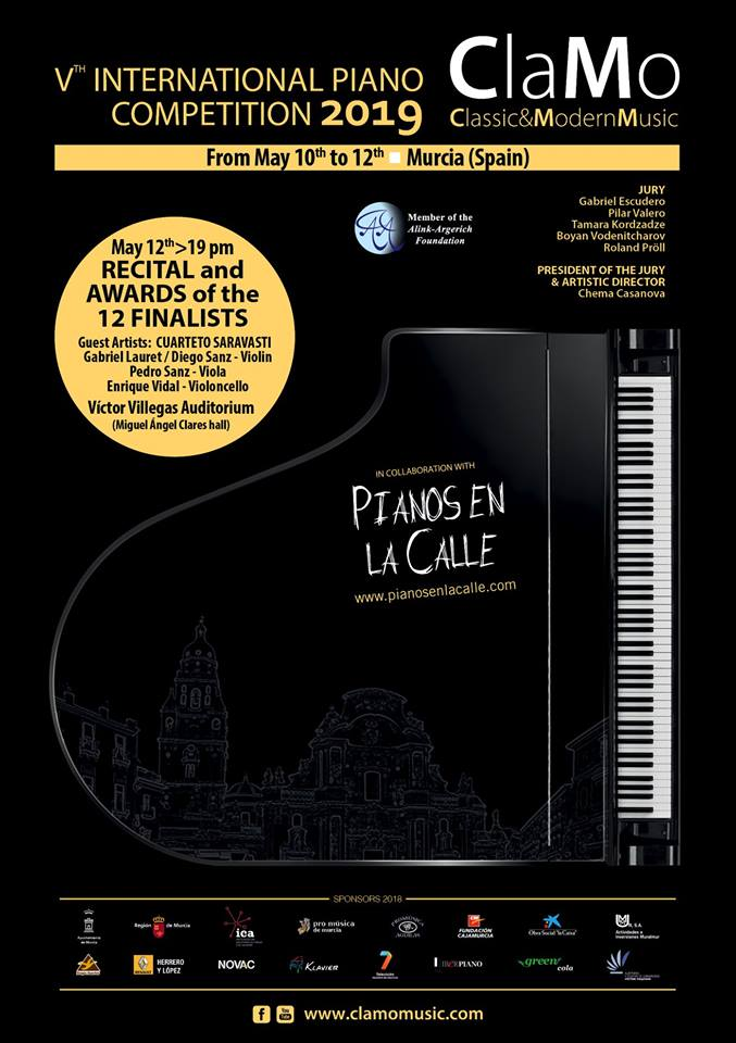 ClaMo International Piano Competition, Murcia, Spain, the 10th-12th of May