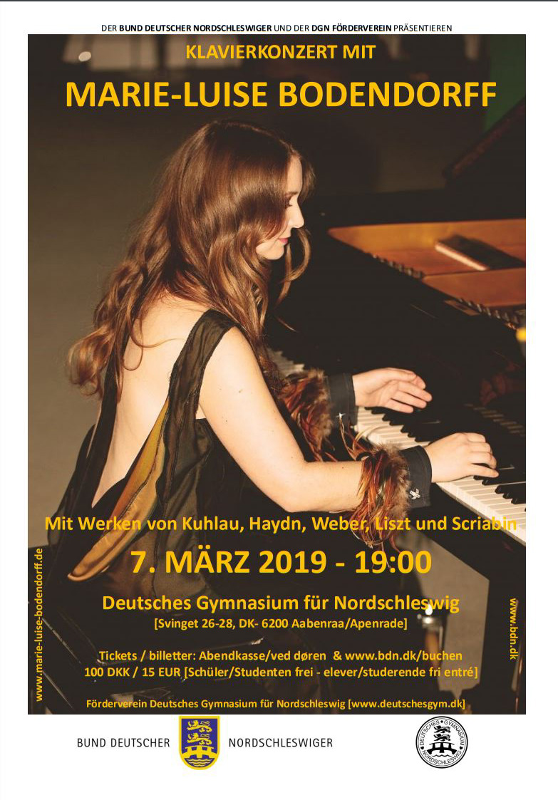 Recital at Deutsches Gymnasium, Aabenraa, Denmark, the 7th of March, 7pm