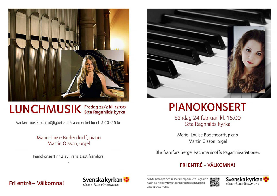 Concert at St:a Ragnhilds Kyrka, Sweden, the 22nd & 24th of February